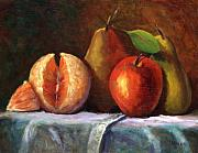 Orange Metal Prints - Vintage-Fruit Metal Print by Linda Hiller