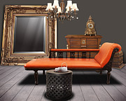 Orange Mixed Media Originals - Vintage Furnitures by Atiketta Sangasaeng