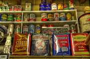 Vintage Garage Oil Cans Print by Bob Christopher
