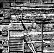 Cabin Wall Metal Prints - Vintage Garden Tools BW Metal Print by Linda Phelps