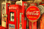Vintage Coca Cola Sign Art - Vintage Gasoline Pumps 2 by Bob Christopher