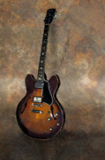 Electric Painting Framed Prints - Vintage Gibson 335 Electric Guitar Framed Print by Bradford Adams