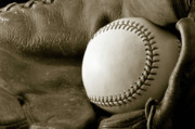 Baseball Bat Photo Prints - Vintage Glove Print by Shawn Wood