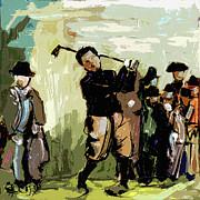 Vintage Golfer And Spectators Print by Ginette Fine Art LLC Ginette Callaway