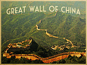 Great Wall Posters - Vintage Great Wall Of China  Poster by Vintage Poster Designs