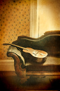 Vintage House Prints - Vintage Guitar on Sofa Print by Jill Battaglia