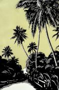 Hawaiian Vintage Art Framed Prints - Vintage Hawaii Palms Framed Print by Hawaiian Legacy Archive - Printscapes