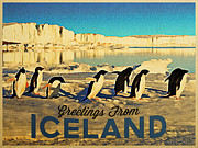 Freezing Digital Art Prints - Vintage Iceland Pengins Print by Vintage Poster Designs