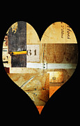Textiles Mixed Media Posters - Vintage Industrial Heart Poster by Anahi DeCanio