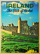 Ireland Digital Art - Vintage Ireland Rock Of Cashel by Vintage Poster Designs