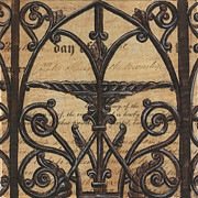 Distressed Mixed Media Posters - Vintage Iron Scroll Gate 1 Poster by Debbie DeWitt