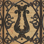 Distressed Mixed Media Prints - Vintage Iron Scroll Gate 2 Print by Debbie DeWitt