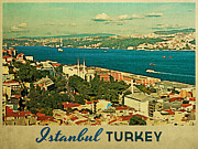 Tourism Digital Art - Vintage Istanbul Turkey by Vintage Poster Designs