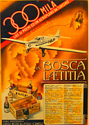 Italian Kitchen Drawings - Vintage Italian Advertising Carton Plane 1930s by Egala