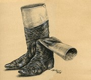 Thoroughbred Drawings - Vintage Jockey Boots by Thomas Allen Pauly