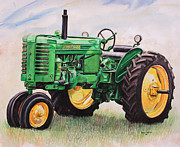 Original Mixed Media Framed Prints - Vintage John Deere Tractor Framed Print by Toni Grote