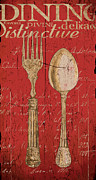 Eating Painting Metal Prints - Vintage Kitchen  Utensils in Red Metal Print by Grace Pullen