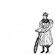 Vintage Lady With Bicycle Print by Karl Addison
