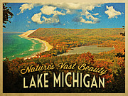 Lake Michigan Digital Art Metal Prints - Vintage Lake Michigan Metal Print by Vintage Poster Designs