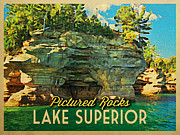 Great Lakes Digital Art Prints - Vintage Lake Superior Pictured Rocks Print by Vintage Poster Designs