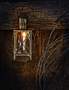 Candle Lit Prints - Vintage Lantern Hung in a Barn Print by Jill Battaglia