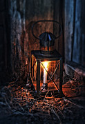 Candle Lit Prints - Vintage Lantern in a Barn Print by Jill Battaglia