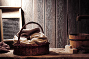 Basket Photos - Vintage Laundromat by Olivier Le Queinec