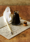 Historical Document Posters - Vintage Letter and Quill Pen Poster by Jill Battaglia