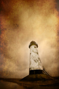 Warning Art - Vintage Lighthouse by Meirion Matthias