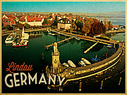 Lindau Framed Prints - Vintage Lindau Germany Framed Print by Vintage Poster Designs