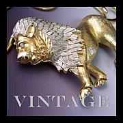 Vintage Jewelry Posters - Vintage Lion Necklace Poster by Jai Johnson