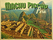 Machu Picchu Framed Prints - Vintage Machu Picchu Peru Framed Print by Vintage Poster Designs