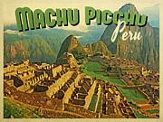 Vintage Machu Picchu Peru Print by Flo Karp