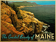 Maine Shore Digital Art Framed Prints - Vintage Maine Coast Framed Print by Vintage Poster Designs