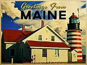 Maine Lighthouse Posters - Vintage Maine Lighthouse Poster by Vintage Poster Designs