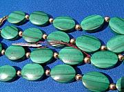 Malachite Jewelry - Vintage malachite necklace with gold spacers and closure by Goldsmith