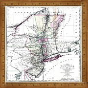 Old Map Photo Originals - Vintage Map 1771 N.Y.N.J. by Florene Welebny