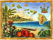Banana Mixed Media Prints - Vintage Map of Hawaii Print by Anne Wertheim