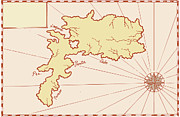 Chart Digital Art - Vintage Map of Island by Aloysius Patrimonio