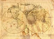 Vintage Map Digital Art - Vintage Map Of The World by Michal Boubin