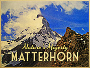 Switzerland Digital Art - Vintage Matterhorn by Vintage Poster Designs