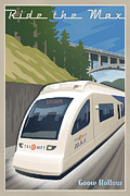 Train Mixed Media Prints - Vintage Max Light Rail Travel Poster Print by Mitch Frey