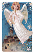 Christmas Angel Paintings - Vintage Merry Christmas by Unknown