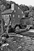 Old Mills Prints - Vintage Mill in Black and White Print by Paul Ward