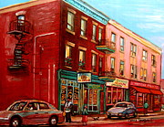 St.viateur Bagel Paintings - Vintage Montreal by Carole Spandau