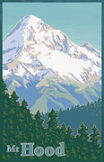Old Digital Art Prints - Vintage Mount Hood Travel Poster Print by Mitch Frey