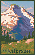 Sisters Art - Vintage Mount Jefferson Travel Poster by Mitch Frey