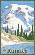Volcanic Prints - Vintage Mount Rainier Travel Poster Print by Mitch Frey