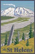 Volcanic Prints - Vintage Mount St. Helens Travel Poster Print by Mitch Frey