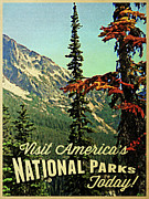 Tourism Digital Art - Vintage National Parks by Vintage Poster Designs
